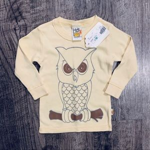 NWT Charlie Rocket Yellow Owl L/S Top SZ 6-9 Month